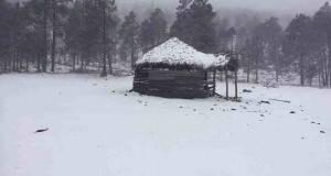 Protección Civil mostró imágenes de la nevada en el municipio de Miquihuana.