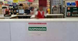 La Profeco colocó sellos de suspensión en la tienda Soriana Tamatán.