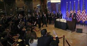 El presidente electo de Estados Unidos,en su primera conferencia de prensa.