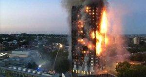 This handout image received by local resident Natalie Oxford early on June 14  2017 shows flames and smoke coming from a 27-storey block of flats after a fire broke out in west London  The fire brigade said 40 fire engines and 200 firefighters had been called to the blaze in Grenfell Tower  which has 120 flats    AFP PHOTO   Natalie Oxford   Natalie OXFORD   -----EDITORS NOTE --- RESTRICTED TO EDITORIAL USE - MANDATORY CREDIT  AFP PHOTO   Natalie Oxford  - NO MARKETING - NO ADVERTISING CAMPAIGNS - DISTRIBUTED AS A SERVICE TO CLIENTS - NO ARCHIVES