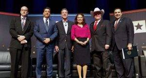 """Jay Root, reporter for The Texas Tribune, moderated the """"Trump and Mexico"""" panel featuring Henry Cuellar, Veronica Escobar, Antonio Garza, Sid Miller and Francisco Cabeza de Vaca at The Texas Tribune Festival on Sept. 23, 2017."""
